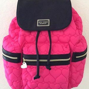 Betsey Johnson Bright pink heart quilted backpack